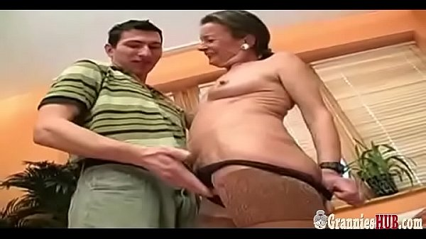 Grandma, Saggy, Hairy pussy, Saggy tits, Young tits