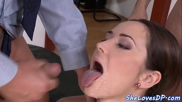 Anal threesome, Officer, Office anal
